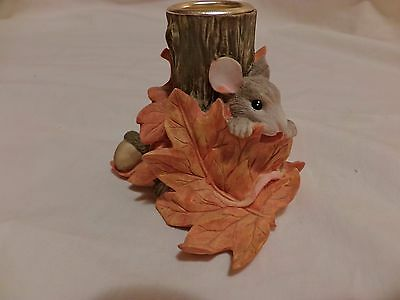 Charming Tails Stump Candleholder Hiding Vintage Rare Signed 85/516 Griff(T11)