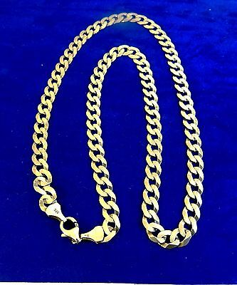 """GENTS LADIEs 18.75"""" Solid 9ct Gold CURB Chain Necklace14.6gr Hm 6.5mm link"""
