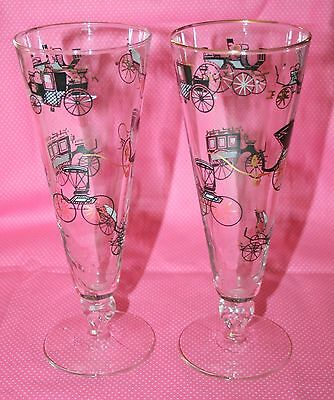 vintage barware Champagne glasses with Old Time Antique Cars