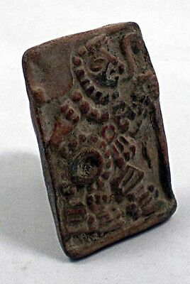 A Mayan ceramic finger seal with male figure c. 500 - 700 AD