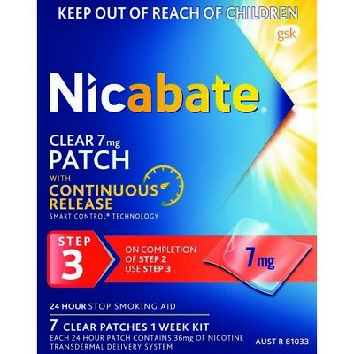 Nicabate CQ Clear 7mg Patches 7 NEW Cincotta Chemist
