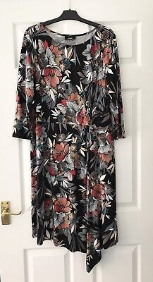 Wallis Ladies Dress Size 18 Black Multicoloured Floral Excellent Condition