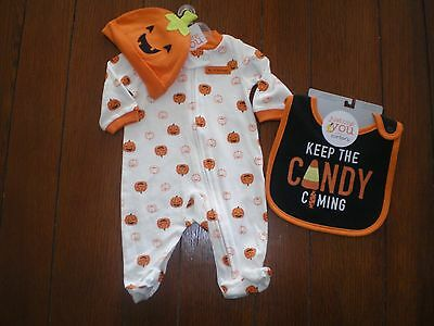Baby Boys or Girls Halloween 2 Pc Outfit by Carters Size NB, 3M, 6M NEW Bodysuit