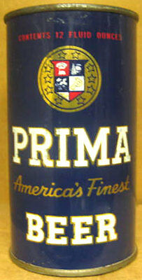 PRIMA AMERICA'S FINEST BEER B2296, USBC116-36 Flat Top CAN Chicago ILLINOIS 1952