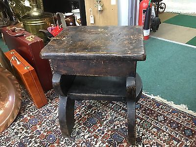 Antique 19th Century Very Heavy Oak Butlers Stool