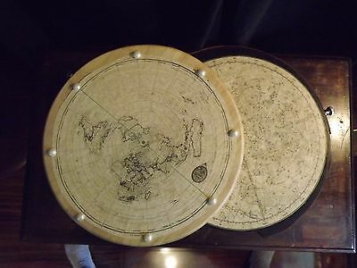 Flat Earth Map with Celestial Map New Steampunk Assemblage Art Prop Decor