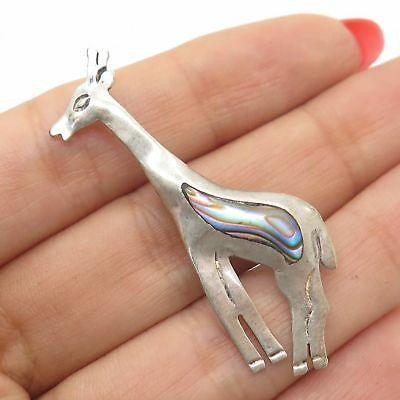 925 Sterling Silver Real Abalone Shell Giraffe Pin Brooch