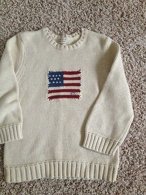 EUC Ralph Lauren Polo Jeans L Knit Sweater Top Flag Offwhite