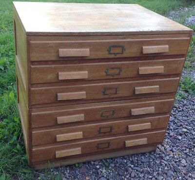 Vintage School, Plan, Art, Architectural Bank Of Drawers. Oak. Country House