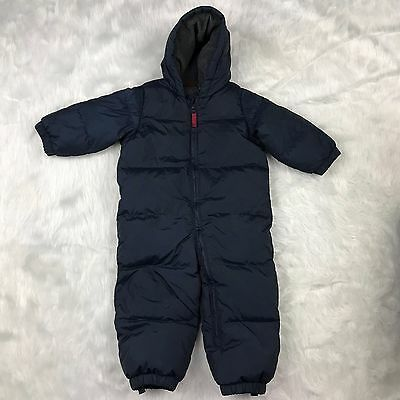 Baby GAP Boys 18 24 Months Snow Suit Navy Blue Puffy Hooded Full Zip