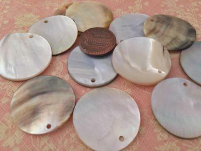 Old Stock 24mm Shell Drop Disc Beads Charms 12