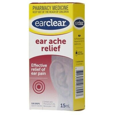 Ear Clear Ear Ache Relief Drops 15Ml NEW Cincotta Chemist