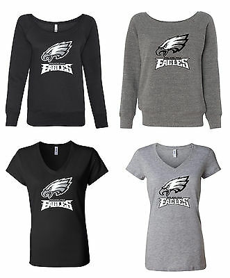 Philadelphia Eagles Logo Ladies V-neck / Wideneck Sweatshirt Sizes S - 2XL