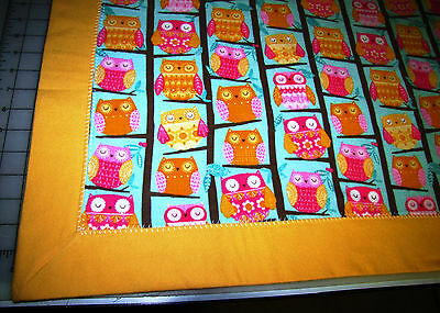 Handmade 100% Cotton Baby Receiving Blanket w/ Sleeping Owls pattern plus border
