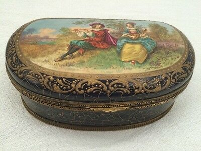 Antique French Severs Box Romantic Scene Signed