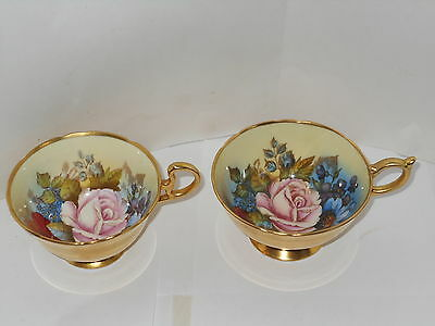Pair Of Golden Aynsley Handpainted Roses&poppies Signed J.a.bailey Cups