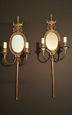 Antique Solid Brass Mirrored Sconces Double Light
