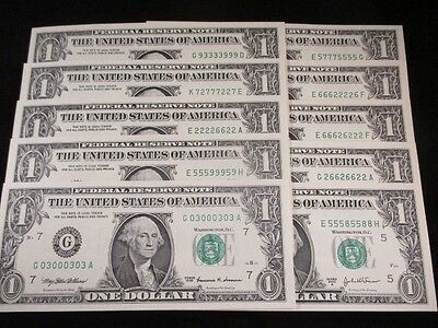 10 Fancy Binary Notes-Lucky Liars Poker - Crisp Uncirculated  - SEE DETAILS