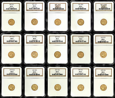1908-1929 Gold $2.5 Indian Complete Set NGC MS-61 Except 1911-D NGC AU-58-155658