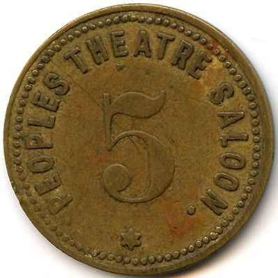 Peoples Theatre Saloon 5 Rawhide, Nevada Old Trade Token Only 1-3 Known Of! Rare
