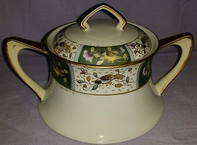 Antique Nippon Covered Biscuit Jar With Birds & Flowers No Chips Gold Trimmed