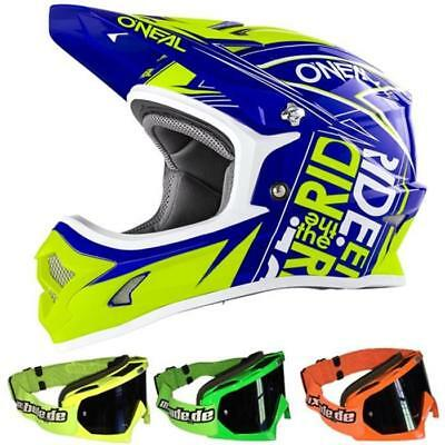 ONEAL 3 SERIES FUEL Kids Motocross Helmet blue neon yellow+MX-Bude MX-2 Glasses