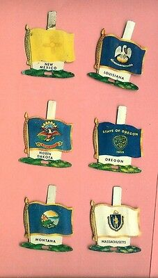 6 Nabisco Tin State Flags 1959 Cereal Premiums La,ma,mt,new Mexico,nd+Oregon