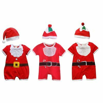 2Pcs Cute Baby Boys Girls Xmas Clothes Bodysuit Romper Jumpsuit Hat Outfits Set