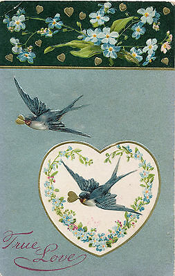 "1908 ""True Love"" Winsch Bluebirds & Gold Hearts Valentine Postcard, Embossed"