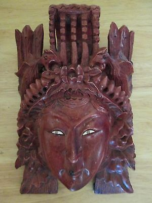 Decorative Carved Chinese Mask Wall Hanging Oriental Asian Female Face