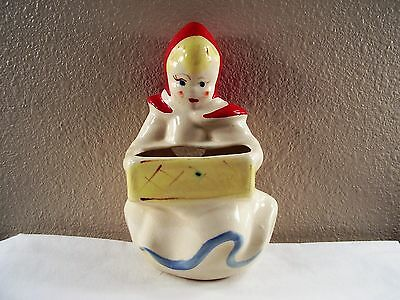 1940s McCOY Art Pottery LITTLE RED RIDING HOOD Planter WALL POCKET Vase RARE!