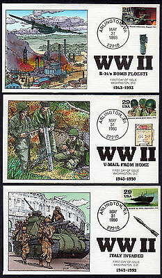 1993 World War II 1943 50th - Collins Hand Painted Set/10 Different FDC's X274