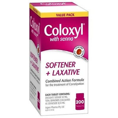 Coloxyl With Senna Softener and Laxative Tablets 200 NEW