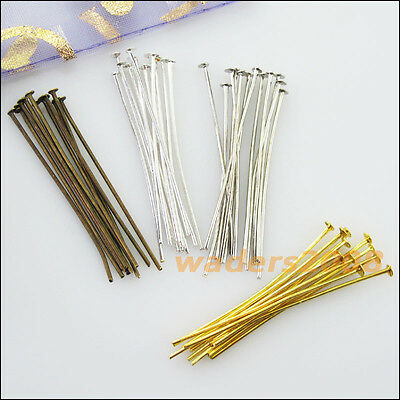 200 New Gold Dull Silver Bronze Plated Connectors Head Pins Finding 16mm