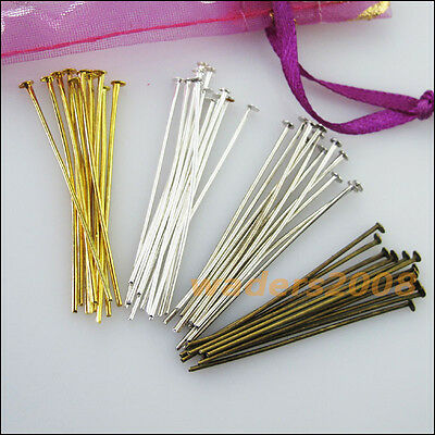 New Gold Silver Bronze Plated Connectors Head Pins 20mm 30mm 40mm 50mm