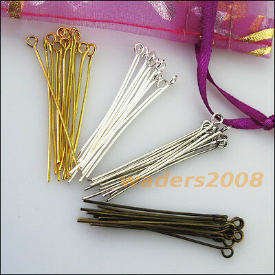 New Gold Silver Bronze Plated Connectors Eye Pins 20mm 30mm 40mm 50mm
