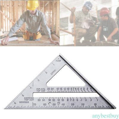"Aluminum Alloy Measuring Square 7"" Triangle Ruler Protractor Miter Framing NEW"