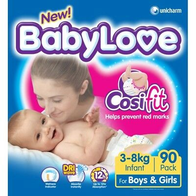 Babylove Nappies Infant JUMBO 90 (Limit of 1 per order) NEW