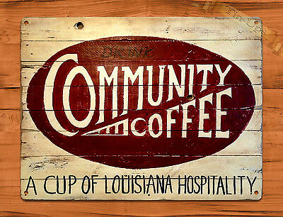 "TIN SIGN ""Community Coffee"" New Orleans Ad Vintage Art Poster Man Cave"