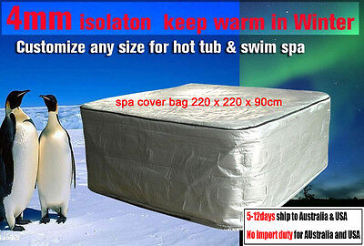 Winterwise! Insulated UV Weatherproof HOT TUB SPA COVER BAG 220x220x90 cm