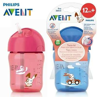 AVENT 260ml Cartoon Baby Straw Cup Water Drinking BPA Free Bottle for 12 months+