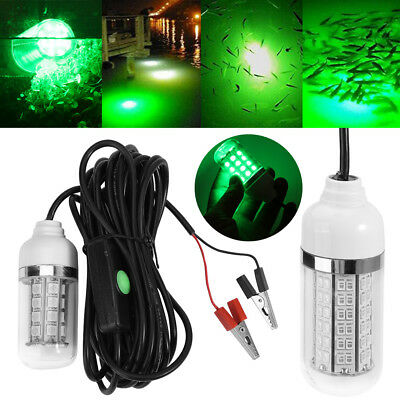 12V LED Green Waterproof Submersible Night Fishing Light Lamp Fish Squid Boat SA