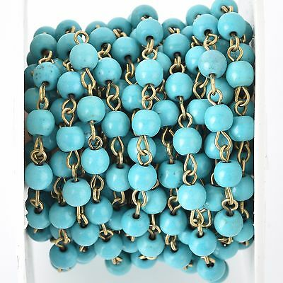 3ft TURQUOISE BLUE Howlite Rosary Chain, Howlite Bead Chain, bronze, fch0679a