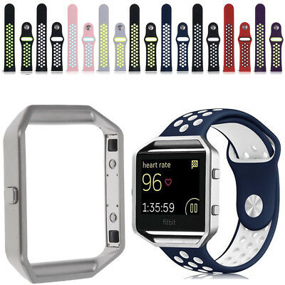 Soft Silicone Sport Replacement Strap Band + Silver Metal Frame For Fitbit Blaze