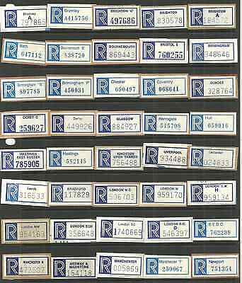 Selection Of 64 Different Great Britain Registered Labels Later Issue