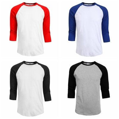 New Raglan 3/4 Sleeve Baseball Mens Plain Tee Jersey Team Sports T-Shirt S-2XL
