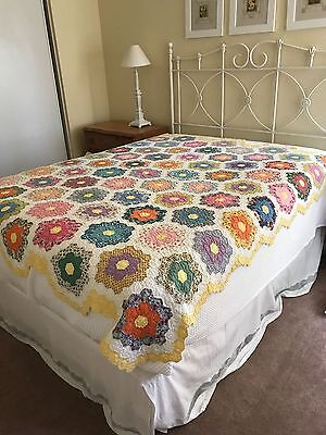 GRANDMOTHER'S FLOWER GARDEN Vintage 30's Antique Quilt Handmade