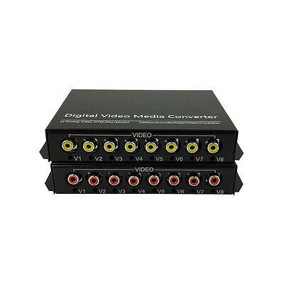 8 Audio Over FC Fiber optic Extender Converters for Broadcast system (Tx/Rx) Kit