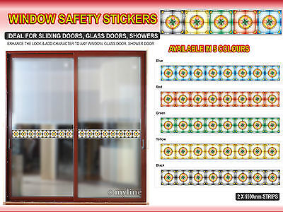 ***STAINED GLASS DOOR WINDOW SAFETY STICKERS 2x 1.1METRE SAFETY STRIPS***