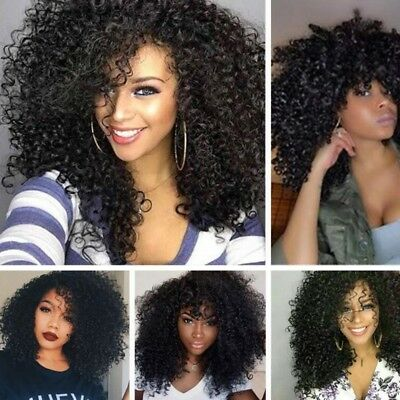 Fashion African Women Afro Black Long Kindy Curly Synthetic Hair Full Wigs